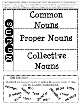 Language Conventions - Nouns - Interactive Notebook and Writing Activites