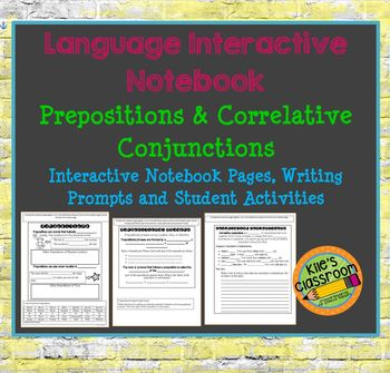 Language Interactive Notebook Pages- Prepositions and  Conjunctions