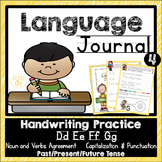 Language Journal for Handwriting, Nouns & Verb Agreement