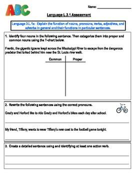Language L.3.1 Third Grade Assessment