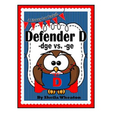 Defender D - When to use ge or dge?  A Literacy Laws Packet for Young Readers