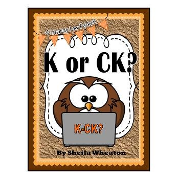 K or CK at the End of a Word- A Literacy Law Packet for Young Readers