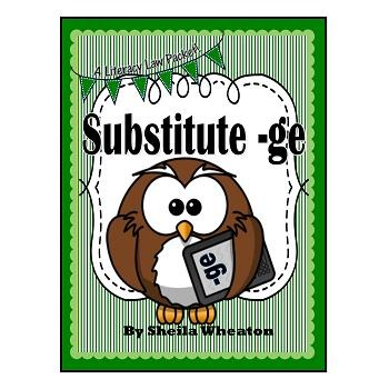 Substitute -ge:  j vs.ge - A Literacy Laws Packet for Young Readers
