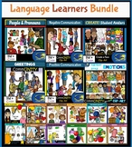 Language Learners Clip Art Bundle! Interactive Student Characters, Objects!