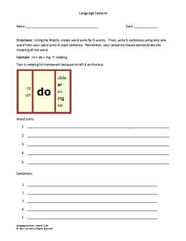 Language Lessons 1 - < do > Student Sheet
