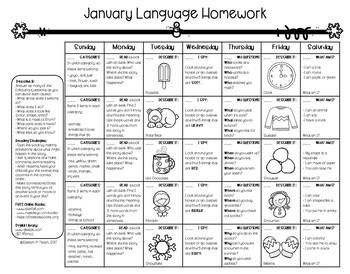 Language Level I Homework Calendars