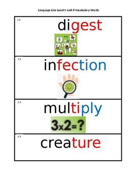 Language Live Vocabulary Cards Level 1 Unit 8