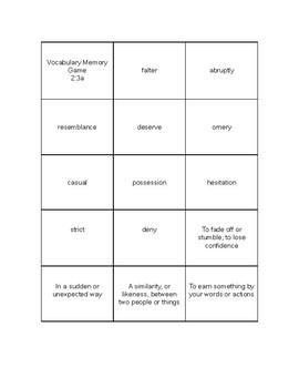 Language Live Vocabulary Memory Game Level 2 Unit 3