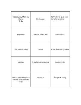 Language Live Vocabulary Memory Game Level 2 Unit 4