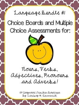 Language Multiple Choice Assessment and Choice Board Bundle