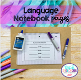Language Notebook Pages for Speech Therapy