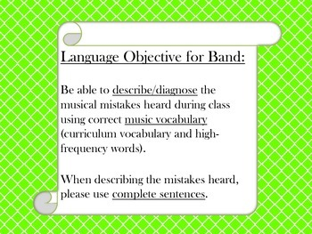 Language Objective for Music Classroom