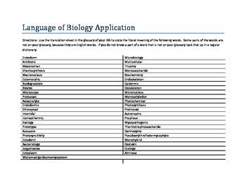 Language Of Biology