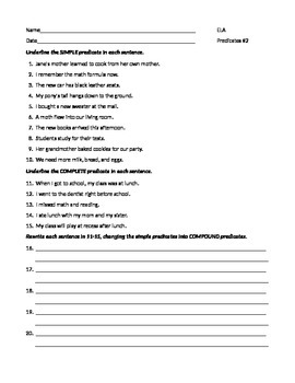 ELA PREDICATES Simple, Complete, & Compound WORKSHEET #2 w/Answers