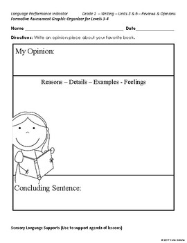 Language Performance, Assessment Levels 1-2 - Graphic Organizers
