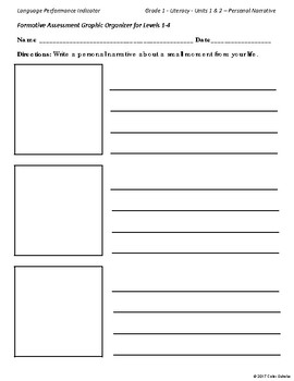 Language Performance, Assessment Levels 1-4 - Graphic Organizers