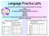 Language Practice Lists