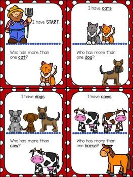 Language Practice of Plurals using I Have, Who has...Farm Animals
