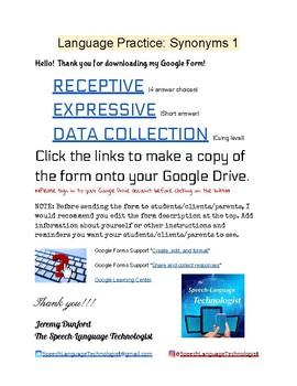 Language Practice: Synonyms Google Form