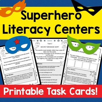 SUPERHERO ELA printable activity cards! Grades 1-3! SUPERH