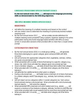 Language Processing Goals &  Objectives