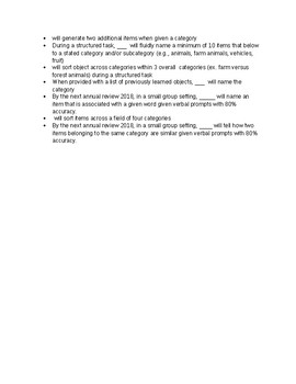 Speech Therapy-Language Processing Goals &  Objectives