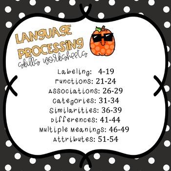 #OCT2019halfoffspeech Language Processing: Halloween Worksheets