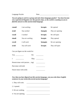 Language Puzzles to help Students Understand Verb Tenses