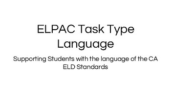 Language Resources for ELPAC