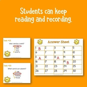 Parts of Speech: Language Review Task Cards