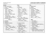 Language Sample Summary Checklist Part 1