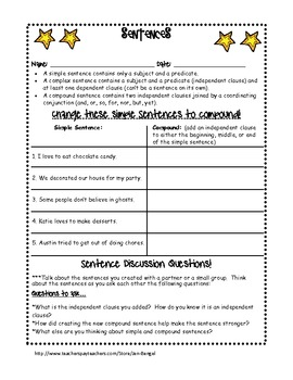 Language Sentences: Simple, Compound, and Complex Printables with CCSS!!