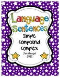 Language Sentences: Simple, Compound, and Complex Printabl