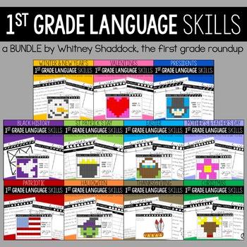 Language & Grammar Worksheets for First Grade BUNDLE