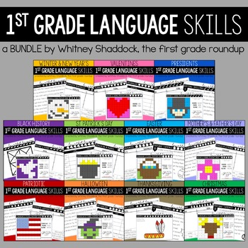 Language & Grammar Worksheets for First Grade BUNDLE