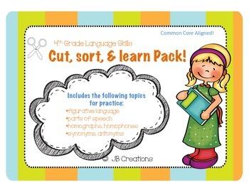 Language Skills Cut & Sort Activity Pack (3rd, 4th, 5th grades)