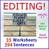 Language Skills | Editing - 35 Printable Worksheets (Grades 3-7)