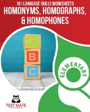 Language Skills: Homonyms, Homographs, & Homophones (101 Common Core Worksheets)