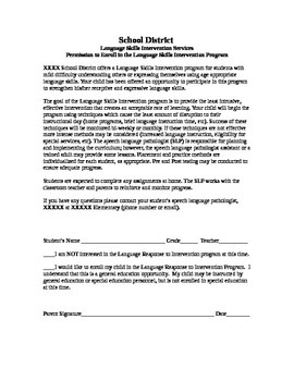Language Skills Intervention Program Permission Form