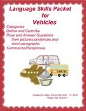 Vehicles Language Skills Packet