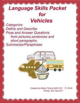 Vehicles Language Skills Packet
