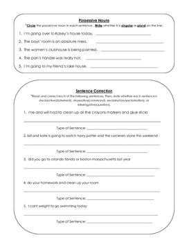 Language Skills Review Sheet Grade 3