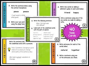 Language Arts Review Task Cards - Vocabulary Word Work