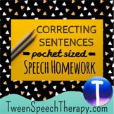 Language Speech Therapy Homework: Correcting Sentences