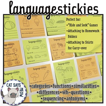 Language Stickies! Sticky Note Language Tasks (categories, wh-questions + more)