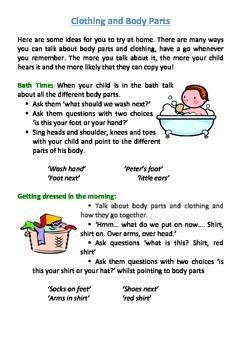 Language Stimulation- Body Parts and Clothing