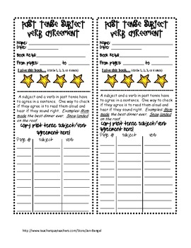 Language Subject/Verb Agreement Printables with CCSS!!