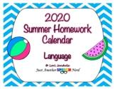 Language Summer Homework Calendar