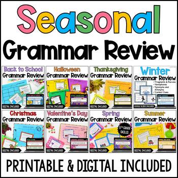 Language Task Cards Bundle: Seasonal & Holiday  {4th and 5th Grade}