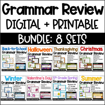 Language Task Cards Bundle: Seasonal & Holiday  {4th and 5th Grade}